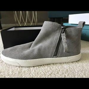 Grey suede high top shoe